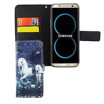 Mobiltelefon täcker fallet för mobil Samsung Galaxy S8 vit enhörning