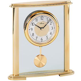 アトランタ 3069 テーブル クロック水晶振り子とガラスの振り子時計とアナログ ゴールデン