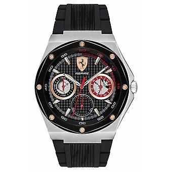 Scuderia Ferrari Mens Aspire preto borracha cinta ouro acentos Data Display 0830556 Watch