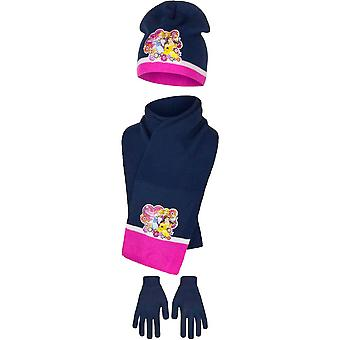 Disney Princess pour enfants filles douce princesse hiver chapeau, écharpe et gants ensemble