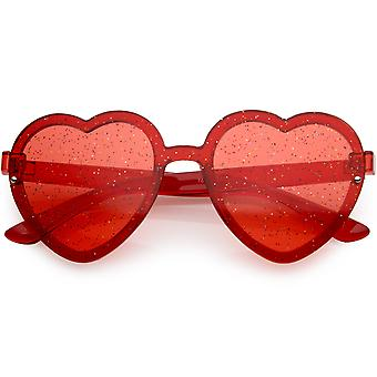 Women's Translucent Rimless Heart Sunglasses Glitter Lens 52mm
