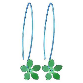 Ti2 Titanium 13mm fem Petal blomst dråbe øreringe - frisk grøn