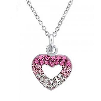 Dziewczyn srebrny naszyjnik Kryształowy wisiorek serce