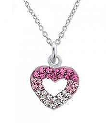 Girls silver necklace with crystal heart pendant