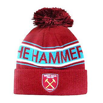 West Ham FC Adults Official Hammers Knitted Winter Football Crest Hat