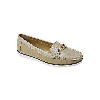 JLY045 Mirren Ladies Snake Skin Gold Chain Comfy Casual Loafer Boat Shoes