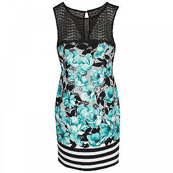 Michaela Louisa Sleeveless Floral Print Lace Neck Dress