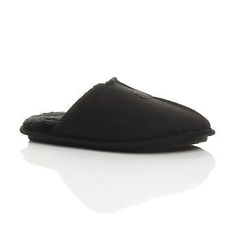 Ajvani mens flatt vinter fur foret minne skum gave muldyr tøfler huset sko