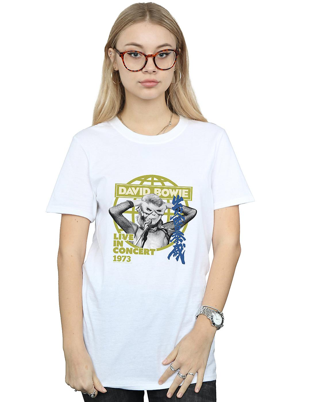 David Bowie Women's Live In Concert Boyfriend Fit T-Shirt