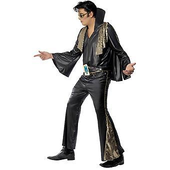 Elvis zwarte en gouden kostuum, borst 38