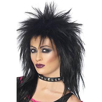 Długo czarne spiczasty Wig, Rock Diva Wig, 1990 's Fancy Dress akcesorium
