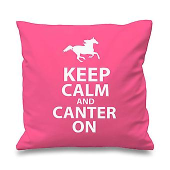 Pink Cushion Cover Keep Calm And Canter On 16