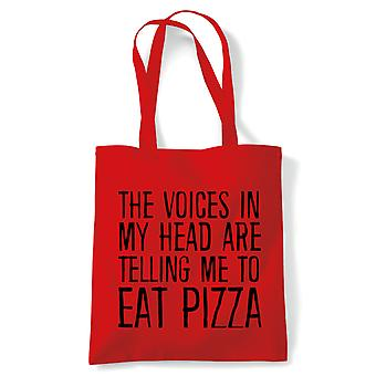 Voices In My Head Eat Pizza, Tote - Reusable Shopping Canvas Bag Gift Her