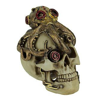 Steampunk Exploration Mechanical Octopus On Skull Statue