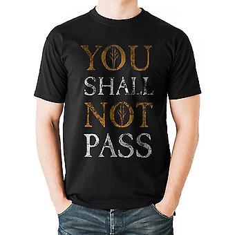 Lord of the Rings Unisex volwassenen u mag niet passeren tekstontwerp T-shirt
