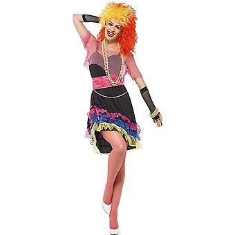 Smiffy's 80's Fun Girl Costume with Top and Belt Outfit - Large Size