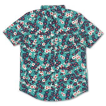 Lrg Rc Printed Short Sleeve Woven Shirt Light Teal Floral