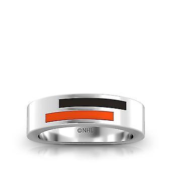 Anaheim Ducks Sterling Silver Asymmetric Enamel Ring In Black and Orange