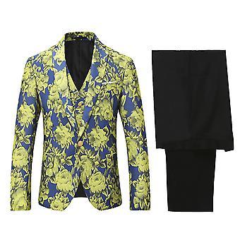 Allthemen menns trykt tre-stykker Dress slim fit blazer & bukser & Tux vest
