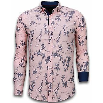 E Shirts - Slim Fit - Hawaii Pattern - Pink