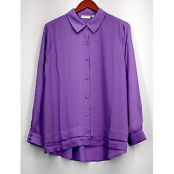 Susan Graver Top piuma tessitura long sleeve button anteriore camicia Lilac A273451