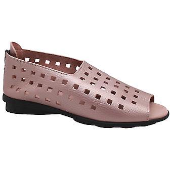 Arche Blush Lazer Cut Open Toe Flat Leather Sandal
