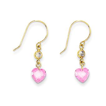 14k Yellow Gold Polished Shepherd hook Clear Pink CZ Cubic Zirconia Simulated Diamond Love Heart Long Drop Dangle Earrin