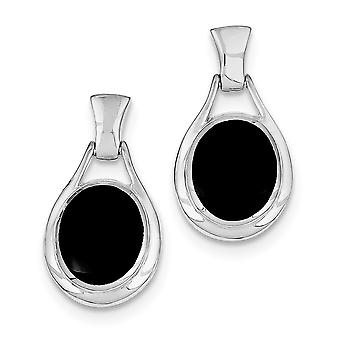 925 Sterling Silver Solid Dangle Polished Open back Post Earrings Rhodium plated Oval Simulated Onyx Earrings Jewelry Gi