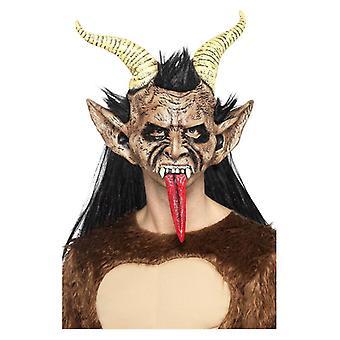 Mens Beast / Krampus Demon Mask Halloween Fancy Dress Accessory