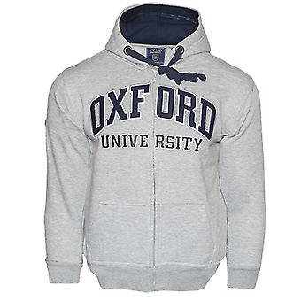Ou129 licensed zipped unisex oxford university™ hooded sweatshirt grey