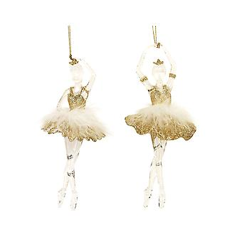 Single Gisela Graham Clear & Gold Ballerina with Feather Tutu Hanging Bauble Decoration