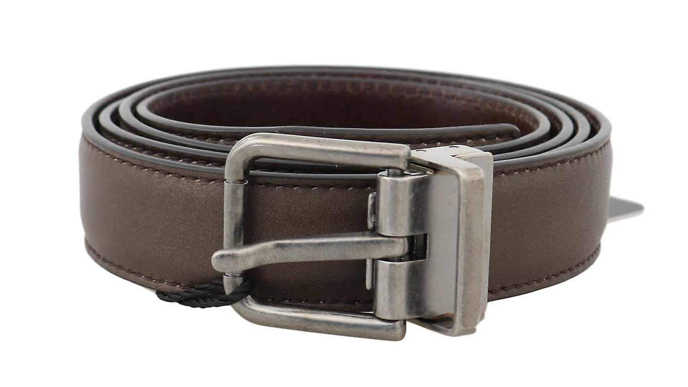 Brown Plain Leather Silver Buckle Belt