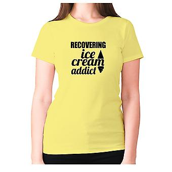 Womens funny t-shirt slogan tee ladies novelty humour - Recovering ice cream addict