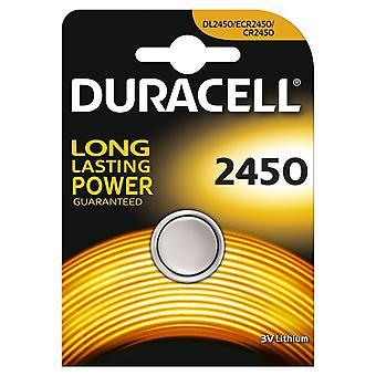 1 x Duracell CR2450 3V Lithium Coin Cell Battery 2450 DL2450 K2450L