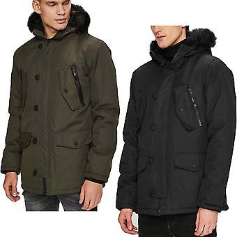 Brave Soul Mens Bennett Warm Winter Faux Fur Hooded Parka Jacket Coat