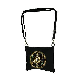 Zwarte canvas heilige geometrie kubus voor rijkdom Gemstone Crystal grid Cross Body tas