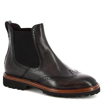 Leonardo Schuhe Frauen's handgemachte Chelsea Brogues Stiefel aus grauem Kalbsleder