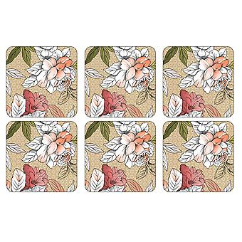 Pimpernel Floral schets onderzetters, set van 6