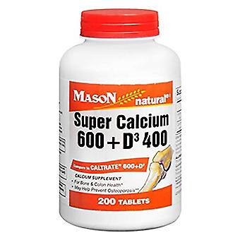 Mason natural calcium 600 with d3, 400 iu, tablets, 200 ea
