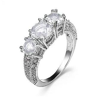 18k white-gold plated tri engagement rings
