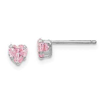 14k Vit Guld polerad Prong som Post Örhängen 4mm Rosa CZ Cubic Zirconia Simulerad Diamond Love Heart Örhängen Åtgärd