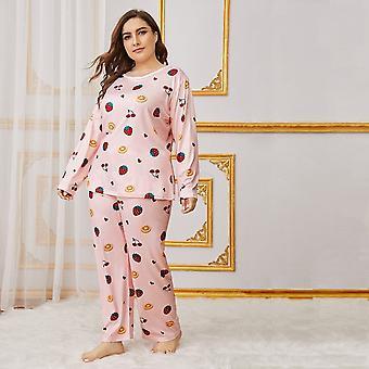 Plus fruit print pajama set