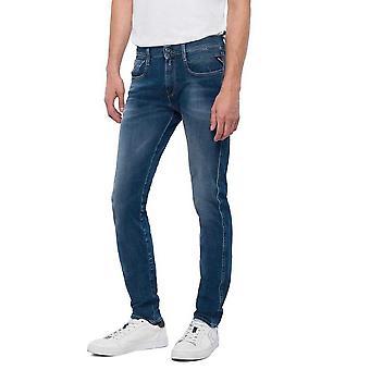 Replay Anbass Hyperflex stretch blauw mid Wash Slim Jeans