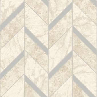Tiling em um Roll Carrara Tile Wallpaper Cream / Silver Holden 89341