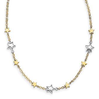 14k Two tone Gold Stars Met 1inch Ext. Ketting 17 Inch Sieraden Geschenken voor vrouwen - 3,8 gram