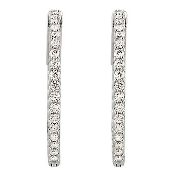 925 Sterling Silver Simulated White Cubic Zirconia 26.5mm Polished Cubic Zirconia Hoop Earrings Jewelry Gifts for Women