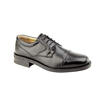 Roamers Black Leather Capped Gibson Fuller Fitting Goat Leather Quarter Lining & Sock Tr Sole