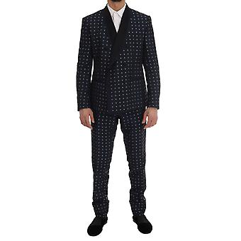 Dolce & Gabbana Blue Silk Double Breasted 3 Piece Suit