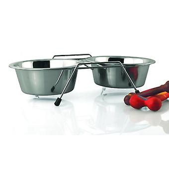Duvo+ Support With Steel Troughs 21 Cm 1890 Ml (Dogs , Bowls, Feeders & Water Dispensers)