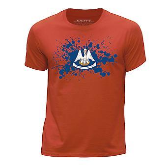 STUFF4 Pojan Pyöreä kaula T-paita / / Louisiana USA-osavaltion lippu Splat/oranssi